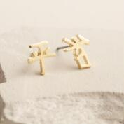 Gold Japanese Character Peace Earrings
