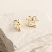 Gold Japanese Character Happiness Earrings