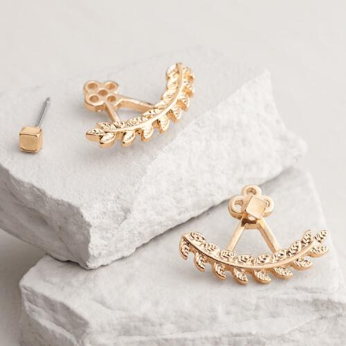 Gold Leaves Ear Jacket Stud Earrings