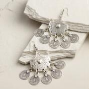 Silver Coin Statement Earrings