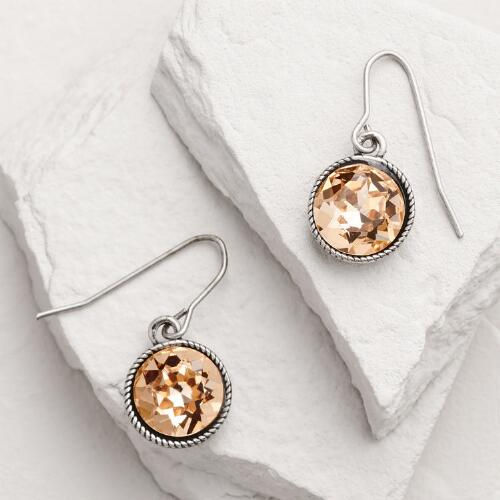 Silver Topaz Round Drop Earrings