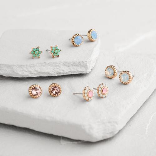 Gold Multicolored Opal Stud Earrings Set of 5