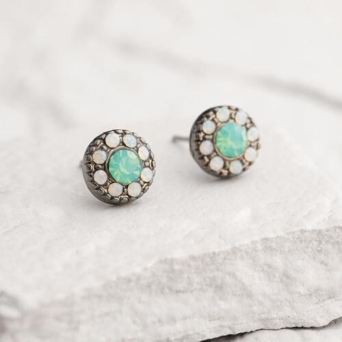 Hematite Pacific Opal Stud Earrings