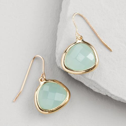 Gold Faceted Mint Stone Drop Earrings