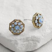 Gold Blue Opal Flower Stud Earrings