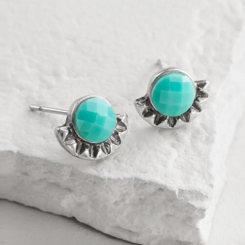 Silver and Turquoise Tribal Stud Earrings