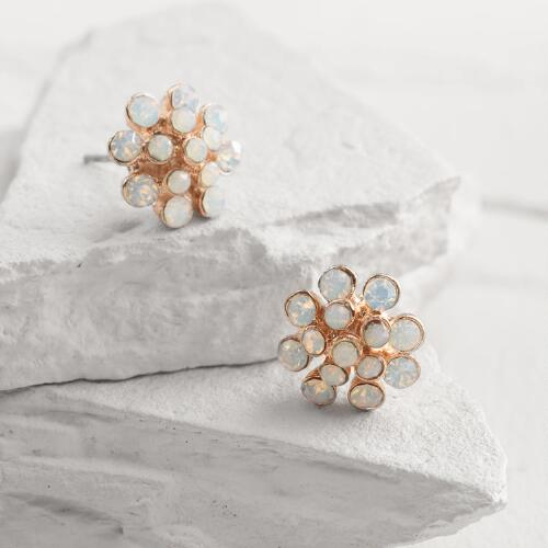 Gold Opal Dot Stud Earrings