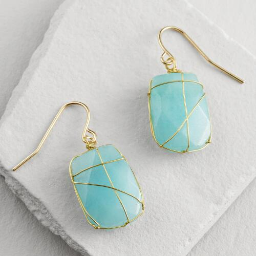 Aqua Stone and Gold Wire Wrap Drop Earrings