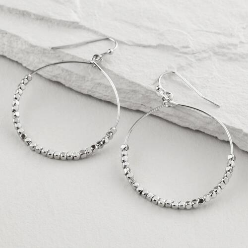 Silver Bottom Bead Hoop Earrings