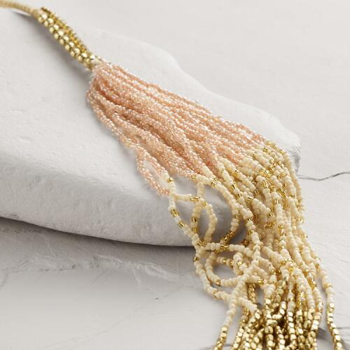 Blush Bead Long Twisted Statement Necklace