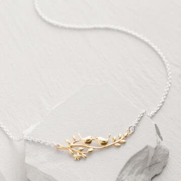Gold Bird Branch Necklace