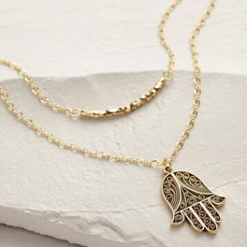 Gold Hamsa Pendant Necklace Set of 2