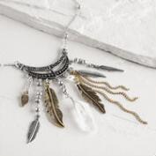 Silver Feather and Quartz Fringe Necklace