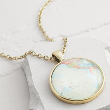 Antique Gold Map Pendant Necklace