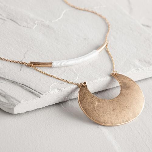 Gold Crescent and Thread Bar Necklace