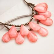 Coral Teardrop Suede Statement Necklace