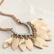 Gold Opal Fringe Pendant Necklace