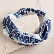 Blue Tree Block Print Headband