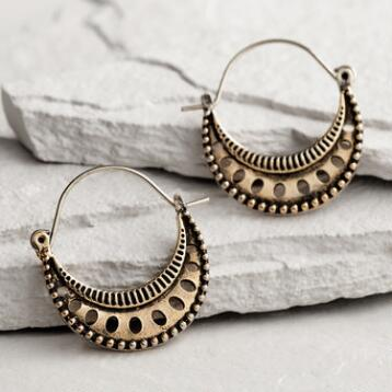 Gold Crescent Hoop Earrings