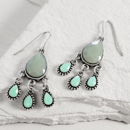 Gold Gray and Mint Teardrop Chandelier Earrings