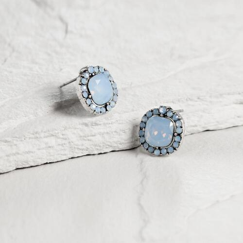 Large Square Blue Opal Stud Earrings
