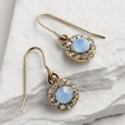 Gold Blue Opal Drop Earrings