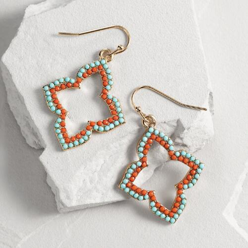 Gold Coral and Aqua Lantern Teardrop Earrings