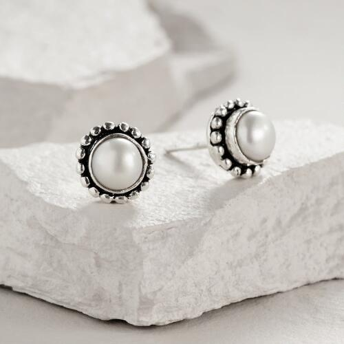 Round Silver Pearl Stud Earrings