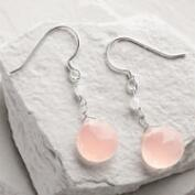 Silver Rose Chalcedony Drop Earrings