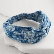 Blue Block Print Turban Headband