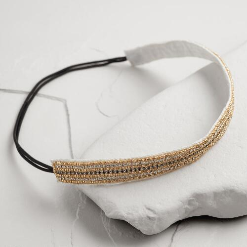 Ivory and Gold Rows Headband