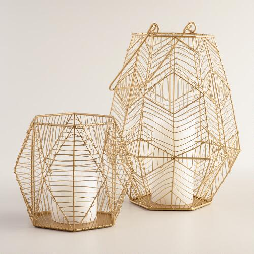 Gold Wire Brielle Hurricane Candleholder