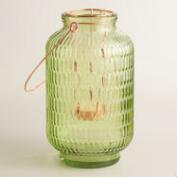 Small Green Textured Glass Aria Lantern