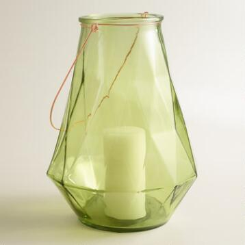 Large Green Faceted Glass Aria Lantern