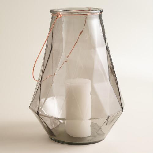 Large Gray Faceted Glass Aria Lantern