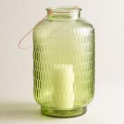 Large Green Textured Glass Aria Lantern