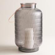 Large Gray Textured Glass Aria Lantern