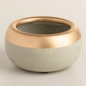 Gold Embellished Cement Tealight Holders Set of 2