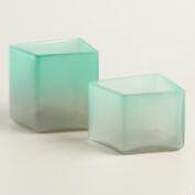 Mint and Gray Ombre Glass Tealight Holder