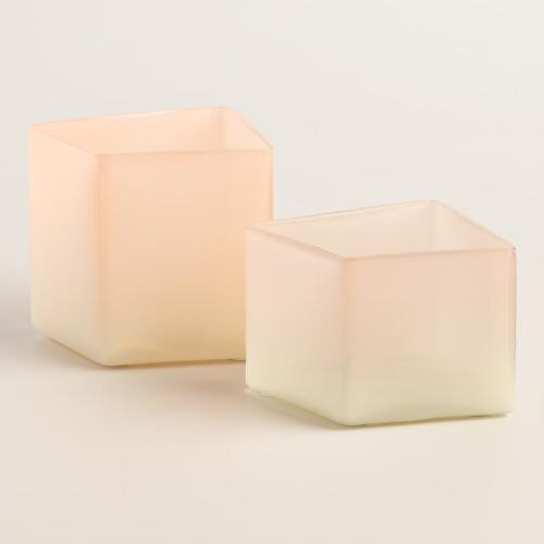 Pink and Gray Ombre Glass Tealight Holder