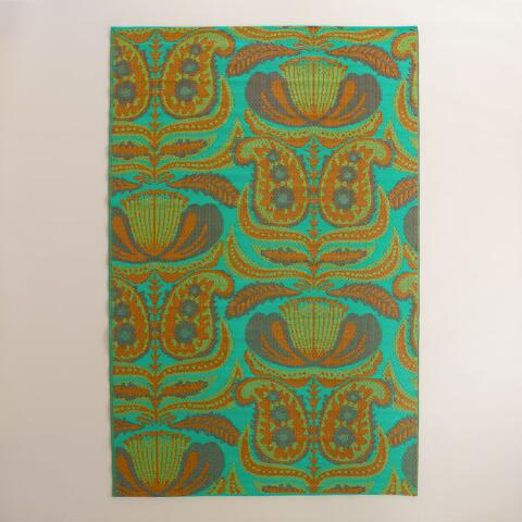 6x9 Teal Santiago Paisley Reversible Rio Floor Mat World