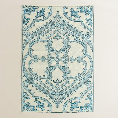 Blue And White Pacifica Reversible Rio Floor Mat World
