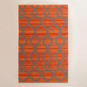 Orange and Gray Ventura Reversible Indoor Outdoor Rug