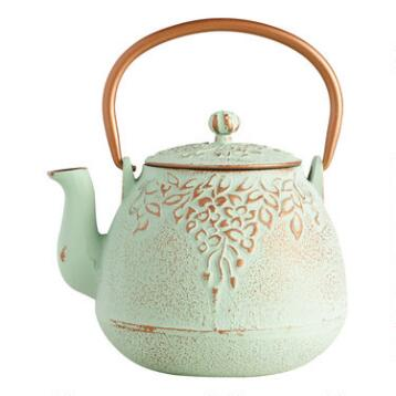 Light Green Embossed Cast Iron Teapot
