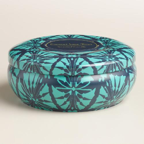 Coco Lime Mist Ikat Candle Tin