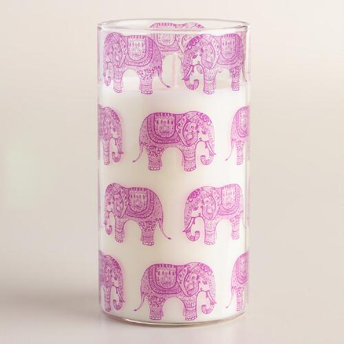 White Orchid Pink Elephant Jar Candle