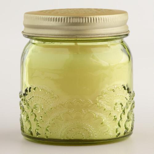 Green Lychee Floral Stamped Jar Candle