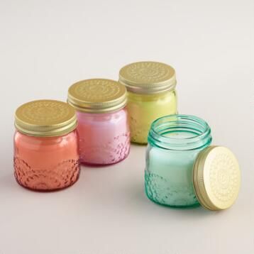 Floral Stamped Jar Candle Collection