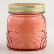Pink Apricot Lily Floral Stamped Jar Candle