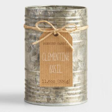 Clementine and Basil Galvanized Antique Candle Tin